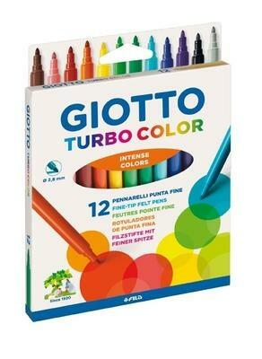 Giotto Turbo Color Tuschpennor, 12 st