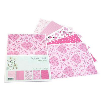 Paper Line Design Papper A4, 100 g, Konfirmation, 5 ark Rosa