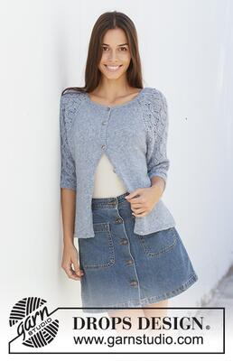 199-4 Blue Nostalgia Cardigan by DROPS Design