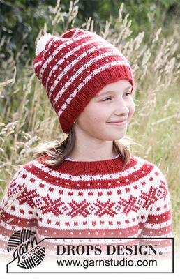 34-33 Candy Cane Lane Hat by DROPS Design