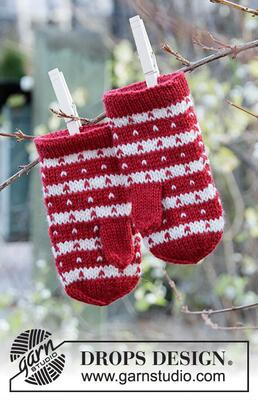 34-35 Candy Cane Lane Mittens by DROPS Design