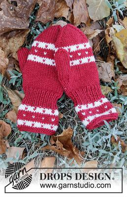 34-36 Candy Cane Lane Mittens by DROPS Design