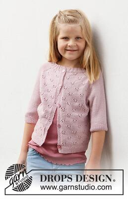 38-22 Pink Peony Cardigan by DROPS Design
