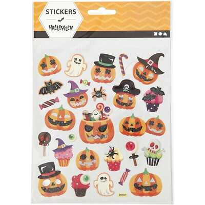 Stickers, Halloweenpumpor, 28 stk, 1 ark